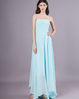 Long Chiffon Strapless Asymmetrical Prom Wedding Party Bridesmaid Dresses