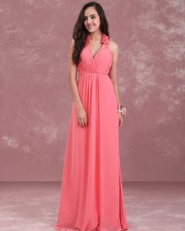 Long Halter Flowers V Neck Pleated Chiffon Wedding Party Bridesmaid Dresses