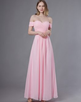 Long Off The Shoulder Chiffon Maxi Wedding Party Bridesmaid Dresses
