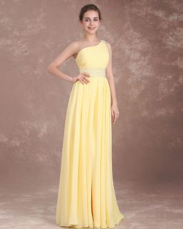 Long One Shoulder Prom Chiffon Beading Back Design Floor Length Wedding Party Bridesmaid Dresses