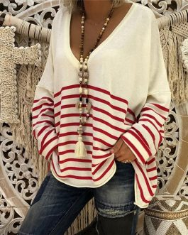 Long Sleeve Striped Sexy V Neck Loose T-shirts