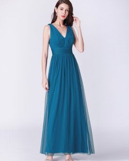 Long V Neck Chiffon Sleeveless Floor Length Wedding Party Bridesmaid Dresses