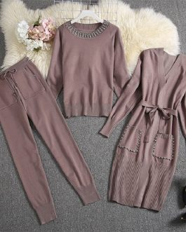 Luxury Diamond  Cardigan Sweater Pants Set