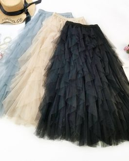 Luxury Ruffled Band Leaves Midi Skirt