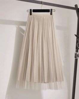 Midi Pleated Lace Fashion Skirt