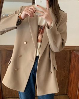 Notched Collar Double-breasted Long Sleeve Pockets Casual Blazers