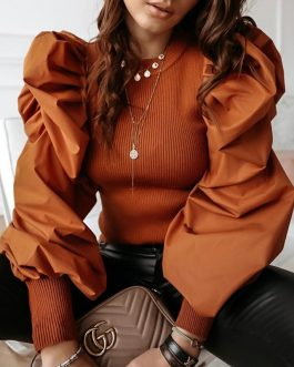 O-Neck Fashion Rivet Button Long Sleeve Slim Fit Knitted Blouse