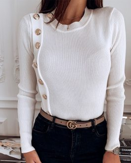 O-Neck Metal Buttons Long Sleeve Solid Ribbed Knitted Blouse