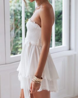 Off Shoulder Ruched Linen Sexy Holiday Beach Jumpsuts