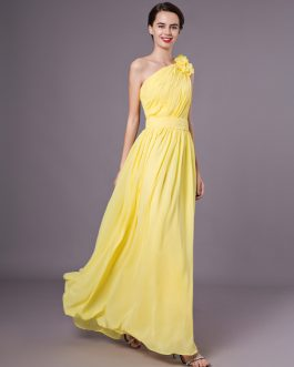 One Shoulder Chiffon Floor Length Wedding Party Bridesmaid Dresses