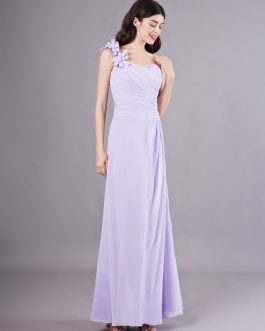 One Shoulder Chiffon Pleated Wedding Party Bridesmaid Dresses