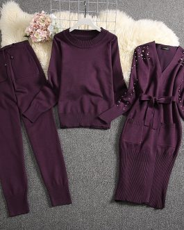 Pearl Cardigans Sweater And Trouser Warm Suits