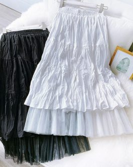 Pleated Mesh Stiching Casual Skirt