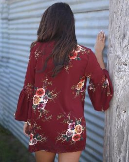 Plus Size Boho Floral Print Lace Patchwork Chiffon Blouse