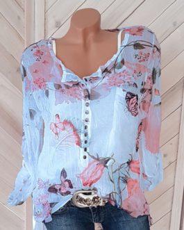 Plus Size Floral Print Button Casual O-Neck Chiffon Blouse