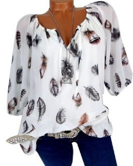 Plus Size Printed Casual V-Neck Chiffon Blouse