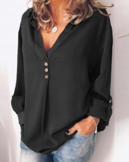 Plus Size Long Sleeve Button V-neck Solid Casual Tunic Shirt