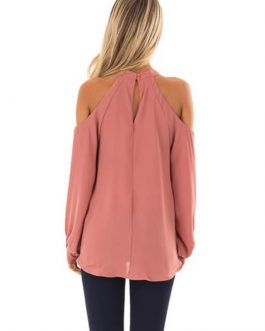 Plus Size Off Shoulder Long Sleeve Elegant Chiffon  Blouse