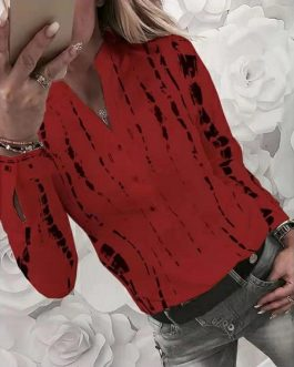Plus Size Pattern Printed Long Sleeve V-neck Button Casual Shirt