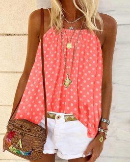 Polka Dot Print Backless Sleeveless Street Wear Strap Blouse