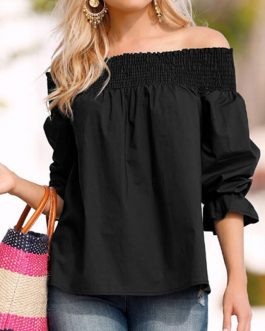 Plus Size Sexy Off Shoulder Bow knot Slash Neck Loose Strapless Blouse