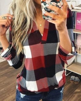 Plus Size V-neck Plaid Long Sleeve Loose Office Ladies Blouse