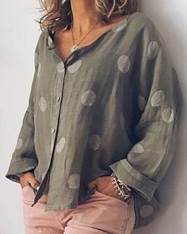 Polka Dots Print V-neck Long Sleeve Buttons Plus Size Shirts