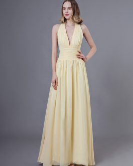 Prom Long Halter V Neck Backless Chiffon Floor Length Wedding Party Bridesmaid Dress