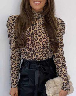 Puff Shoulder Casual Turtleneck Leopard Print Blouse