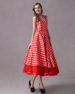 Rockabilly Polka Dot Print Halter Vintage Sweetheart Tea Length Wedding Party Bridesmaid Dresses