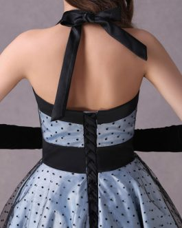 Rockabilly Short Polka Dot Print Halter Tea Length Vintage Wedding Party Bridesmaid Dresses