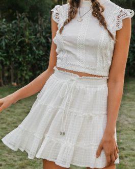 Ruffled High Waist Short Skirt