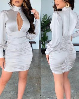 Satin Silk Pleated Backless Turtleneck Slim Bodycon Party Dress