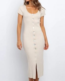 Sexy Elastic Slim Bodycon Knitted Split Party Dress