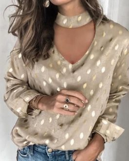 Sexy Hollow Out Polka Dot Print Long Sleeve Elegant Blouse