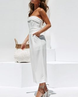 Sexy Layer Zipper Off Shoulder Long Jumpsuit