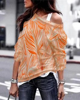 Sexy Off Shoulder Long Sleeve Slash neck Printed Casual Blouse
