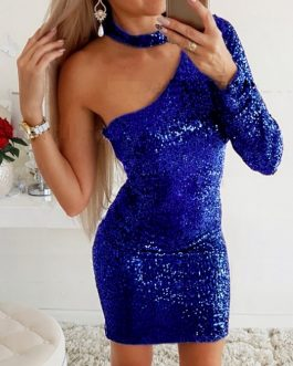 Sexy Skew Collar One-shoulder Backless Sequin Bright Party Dress
