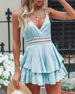 Sexy Sleeveless Backless Lace Up Short Jumpsuit