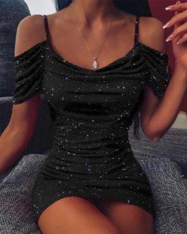 Sexy Slim Bodycon Off Shoulder Bandage Shiny Mini Short Dresses