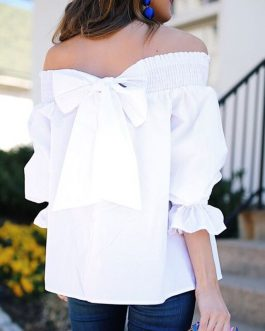 Sexy Strapless Casual Bowknot Blouse