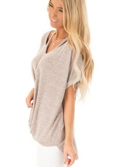 Sexy V-Neck Off Shoulder Fashion Short Sleeve Solid Knotted T-shirt
