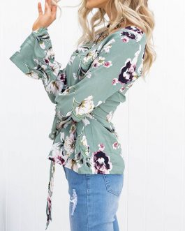Sexy V-neck Floral Print Flare Long Sleeve Lace-up Blouse