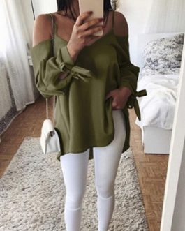 Sexy V-neck Off Shoulder Tied Bow Long Sleeve Strap Top