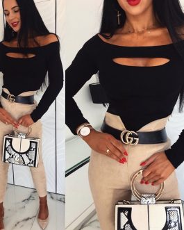 Sexy Wrap Off Shoulder Cut Off Patchwork Long Sleeve Blouse