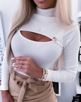 Sexy Wrap Turtle Neck Cut Off Patchwork Long Sleeve Blouse
