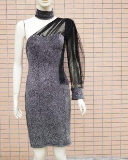 Shiny Bodycon Puff Sleeve Sequin Strapless Glitter Mini Dress