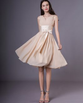 Short Chiffon Bow Sash Wedding Party Bridesmaid Dresses