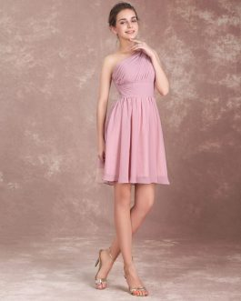 Short Chiffon Prom One Shoulder Twisted Pleated Party Bridesmaid Dress