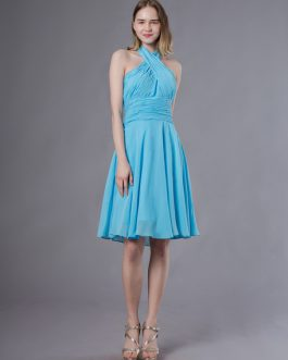Short Halter Chiffon Pleated Wedding Party Bridesmaid Dresses